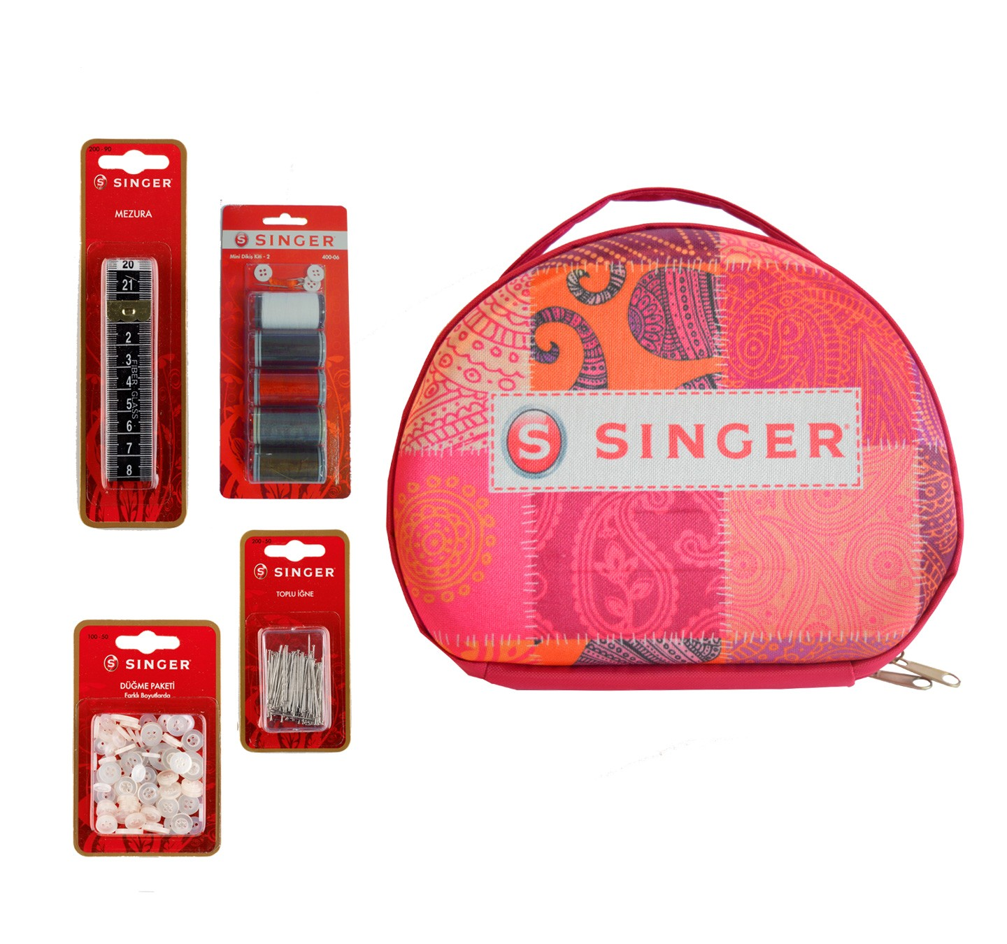 DS-01  SEWING KIT IN FASHION PINK BAG